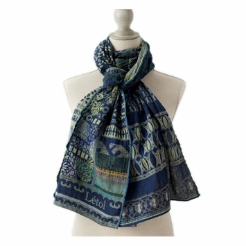 Organic Letol Woven Jacquard Scarf in Pablo Print