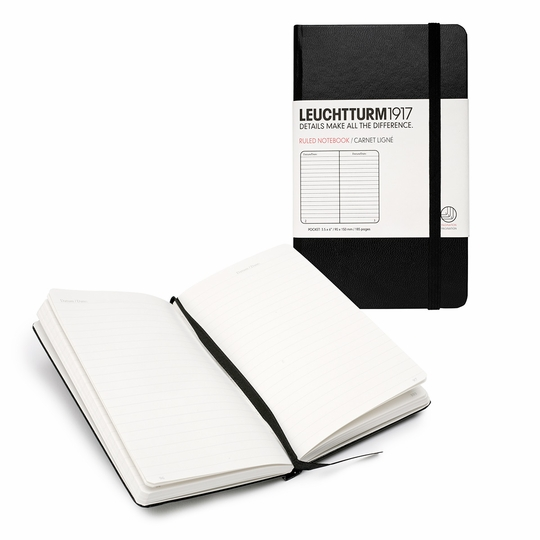 Leuchtturm1917 Pocket Hard Cover Notebook (3.5 x 6) ( Black )