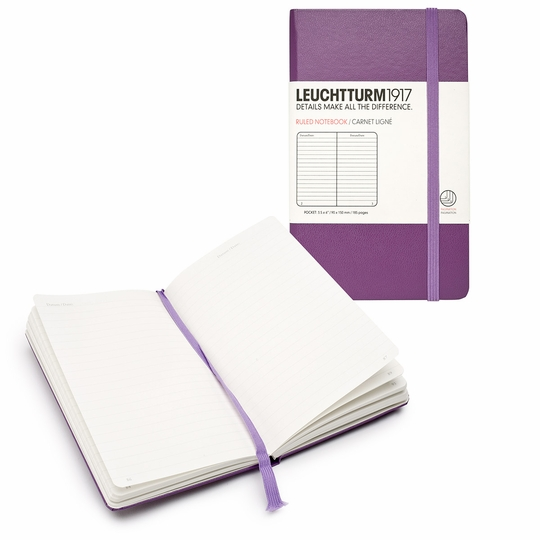 Leuchtturm1917 Pocket Hard Cover Ruled Notebook (3.5 x 6) ( Purple )