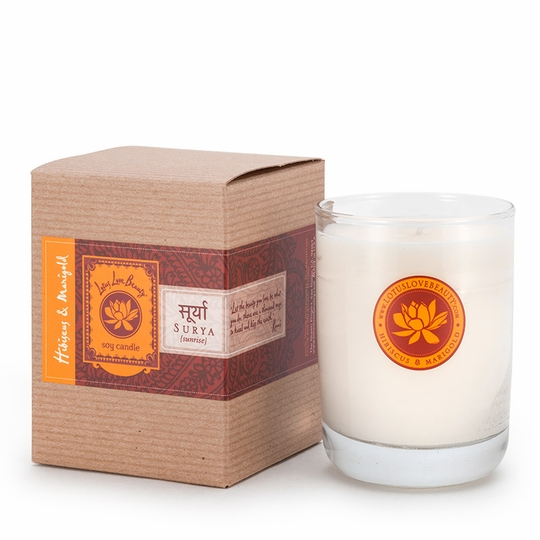Lotus Love Beauty Kalava Soy Candle ( Surya (Hibiscus & Marigold) )