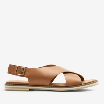 Matt & Nat Criss Cross Strap Sandal in Tan