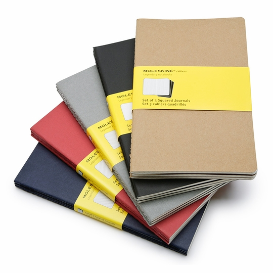Moleskine Cahier Large Squared Notebook (set of 3) (5 x 8.25)