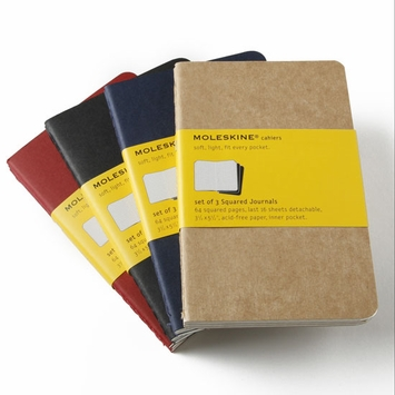 Moleskine Cahier Pocket Squared Notebook (set of 3) (3.5 x 5.5)