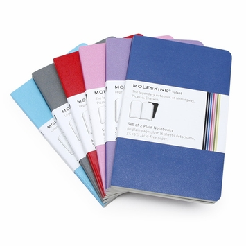 Moleskine Volant Pocket Plain Notebook (Set of 2) (3.5 x 5.5) in Sky Blue/Robin