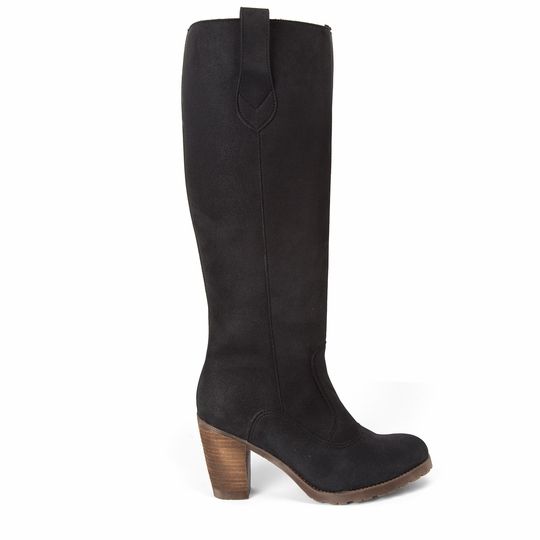 Novacas Chloe Faux Suede Tall Boot ( Black )