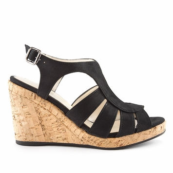Novacas Lucia Wedge Sandal in Black