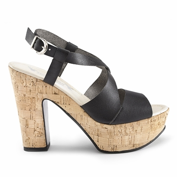 Novacas Pepper Chunky Cork Sandal in Black