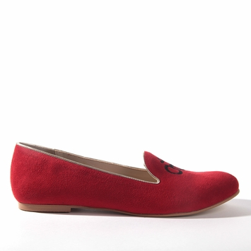 Olsen Haus Awake Ballet Flat in Red Faux Suede