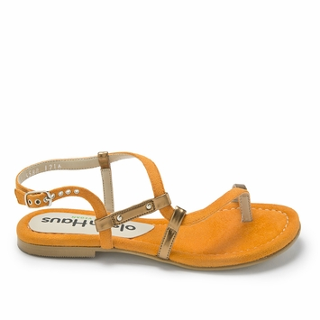 Olsen Haus Faux Suede Strappy Sandals in Orange/Silver