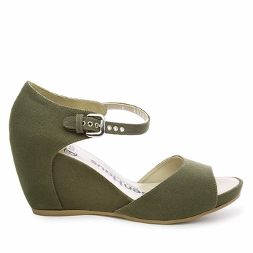Olsen Haus Canvas Wedge Sandal in Army Green