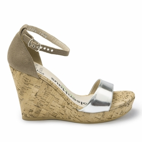 Olsen Haus Margaux Wedge Sandal in Taupe Suede/Silver Faux Leather
