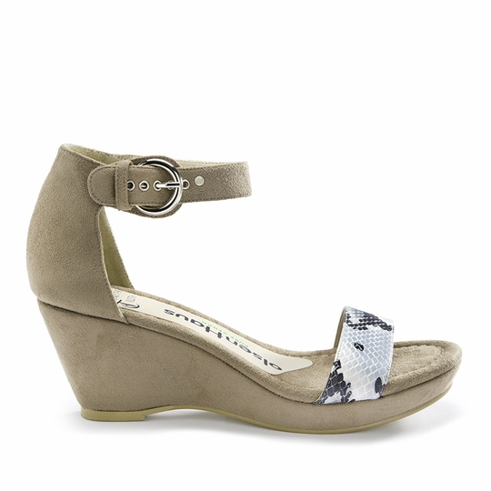 Olsen Haus Faux Lizard Wedge Sandal ( Taupe Suede/Snake Faux Leather )