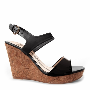 Olsen Haus Modern Wedge Sandal in Black