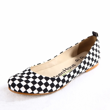 Olsen Haus Shanti Ballet Flat in Black Checkerboard Cotton