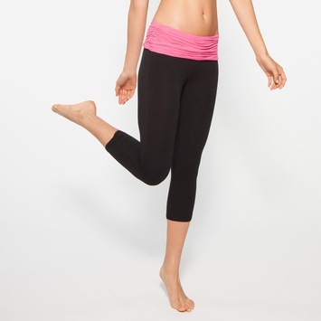 Organic Om Girl Ahimsa Capri in Powerful Pink