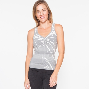 Om Girl Bhakti Tank in Grey/White