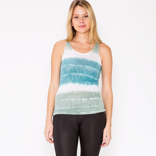 Om Girl Watercolor Stripe Mindful Tank ( Martini Olive )