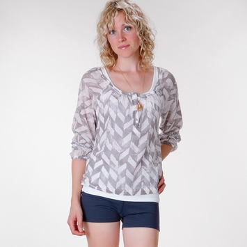 Om Girl Paradise Blouse in Shady Grey