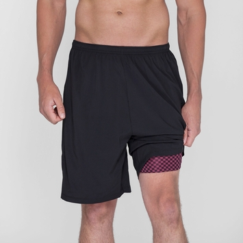 Phat Buddha Morton Short in Caviar/ Checkered Lining