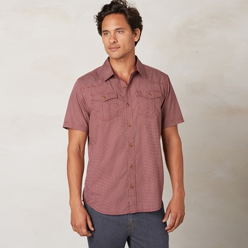 Organic Prana Borla Short Sleeve Shirt in Raisin
