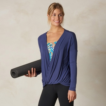 Prana Cascade Surplice Top in Gray Indigo