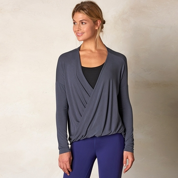 Prana Cascade Surplice Top in Coal