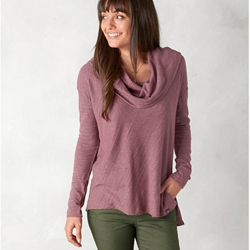 Organic Prana Ginger Cowl Neck Top in Deep Marsala
