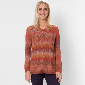 Prana Leisel Cable V-Neck Sweater in Crimson
