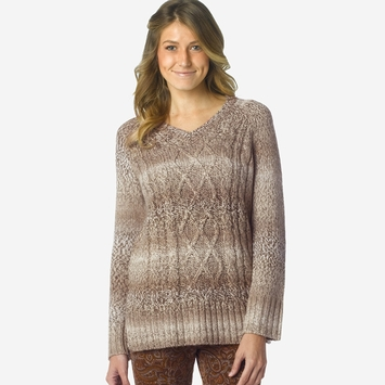 Prana Leisel Cable V-Neck Sweater in Stone
