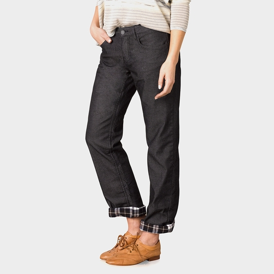 Prana Flannel Lined Boyfriend Jean ( Black )