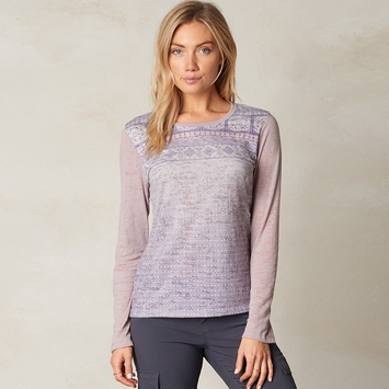 Organic Prana Lottie Long Sleeve Burnout Top in Gull