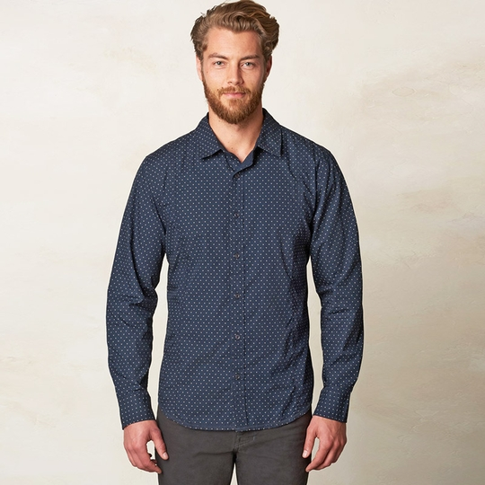 Prana Lukas Poplin Long Sleeve Shirt ( Nautical )