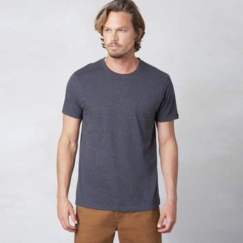 Organic Prana Short Sleeve Crew Tee in Charcoal Heather
