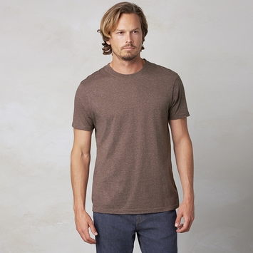 Organic Prana Short Sleeve Crew Tee in Brown Heather