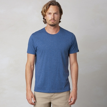 Organic Prana Short Sleeve Crew Tee in Denim Heather