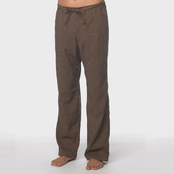 Hemp Prana Sutra Drawstring Yoga Pant in Brown Herringbone