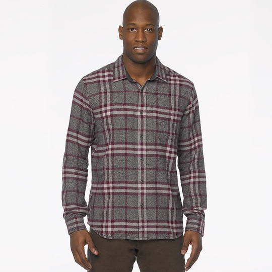 Prana Woodman Plaid Flannel Shirt ( Black Plum )