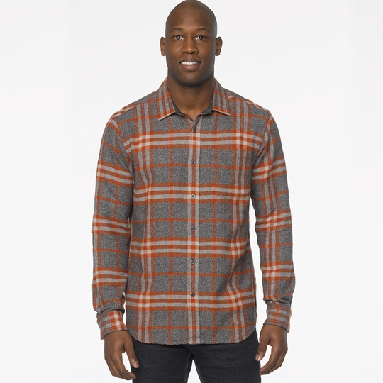 Prana Woodman Plaid Flannel Shirt ( Henna )