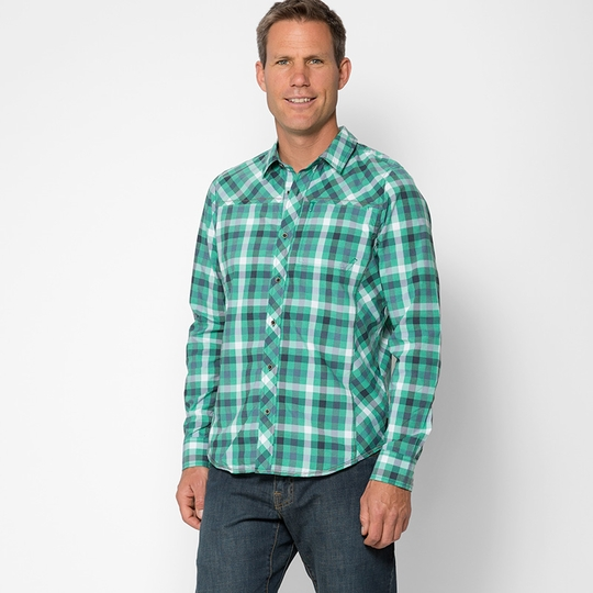 Prana Zeven Plaid Shirt ( Cool Green )