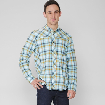 Prana Zeven Plaid Shirt in Dusty Blue