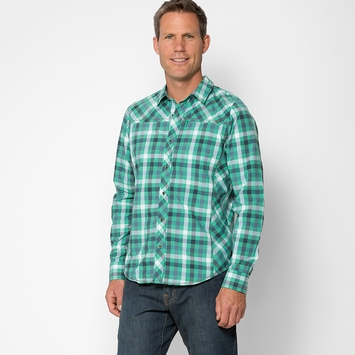 Prana Zeven Plaid Shirt in Cool Green