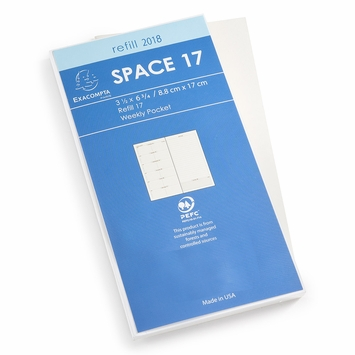 Exacompta 2018 Space 17 Pocket Weekly Planner Refill (Ref. #1701) (3.5 x 6.75)