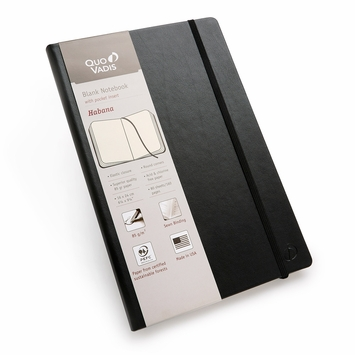 Quo Vadis Habana Large Plain Journal 85g (6.25 x 9.25) in Black
