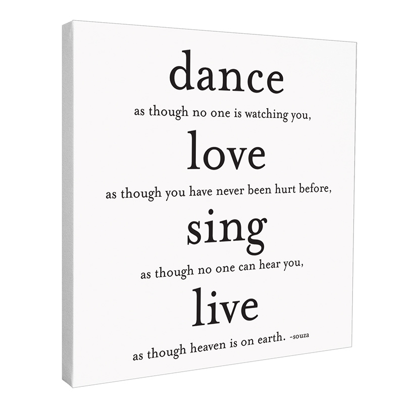 Quotable Cards Dance Love Sing Live Wall Canvas 12 X 15