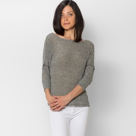 Red Haute Drape Back Sweater in Salt and Pepper