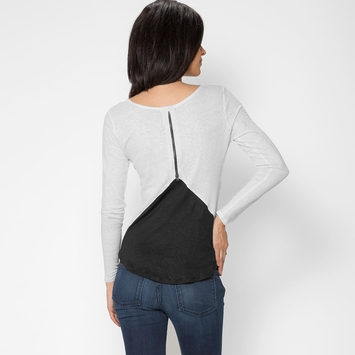 Red Haute Zip Back Long Sleeve Linen Tee in White