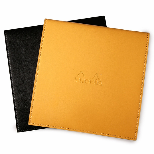 Rhodia Leatherette No. 210 Square Reverse Notepad Holder (8.25 x 8.25) ( Orange [R118318] )