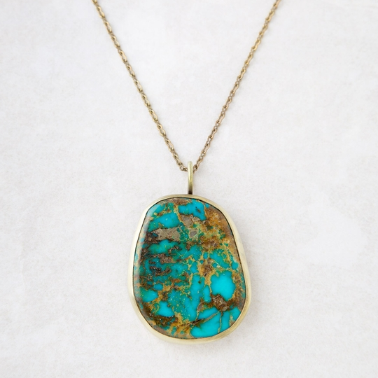 Roost Royston Turquoise & Brass Necklace