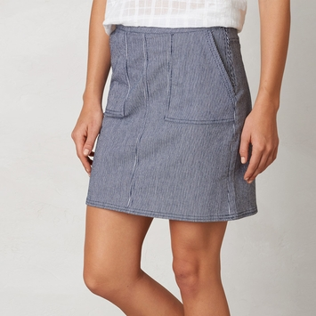 Organic Prana Kara Denim Skirt in Indigo Stripe