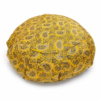 Sari Zafu Meditation Cushion in Saffron Paisley